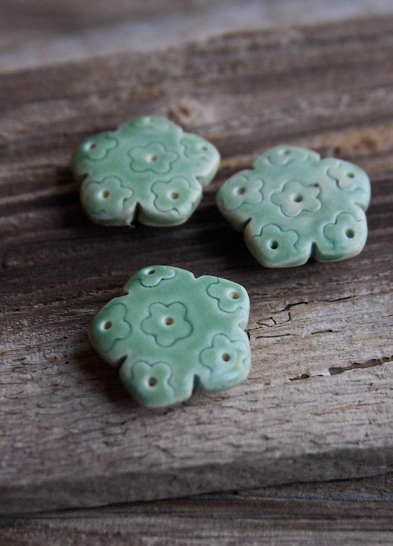 Trio of Green Flower Magnets - Handmade Pottery
