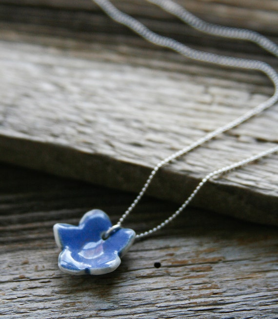 Necklace with Periwinkle Blue Porcelain Flower - ON SALE