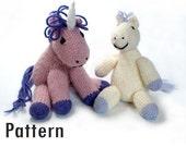 PDF Pattern - Tony the Lazy Pony and Hubert the Grumpy Unicorn - Knitting