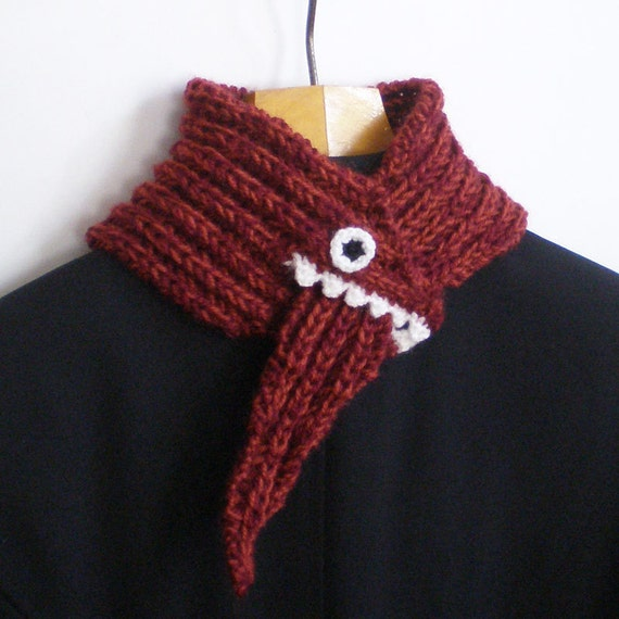 Monster Scarf - Red and Rusty Orange - Acrylic