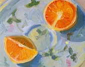 Tangerines daily original painting 4x4 oil on panel