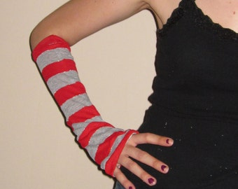 Red and Gray Striped Arm Warmers