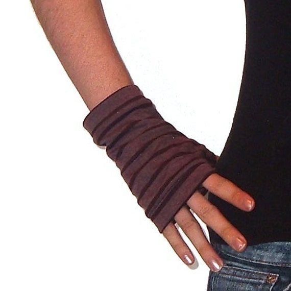 Maroon Striped Wrist Warmers