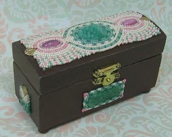 Beaded Sweet Floral Wood Box