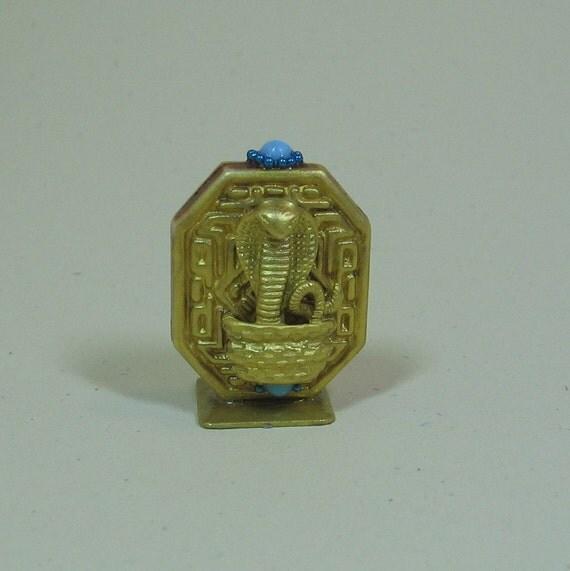 Miniature Dollhouse Golden Egyptian Cobra Figurine