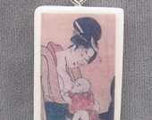 Japanese Mama and Baby Breastfeeding Pendant Necklace