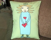 Heart on a String, Ocean colors, Pillow Cover 12 by 16 inch series W
