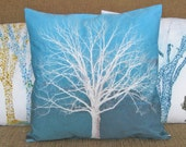 White Tree Turquoise Blue 16 inch Pillow Cover series F M