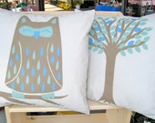 Owl and Tree 16 inch Pair of Pillow Covers series C