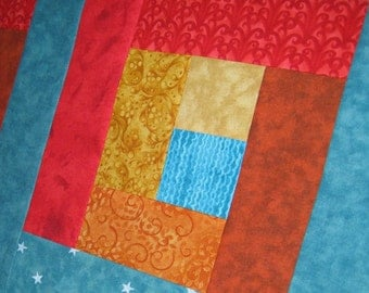 Southwest Red Orange Yellow Turquoise Blue Wallhanging or Half size Tablerunner