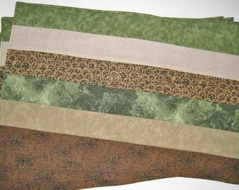 Earth Green Beige Taupe Brown Set of 4 Placemats