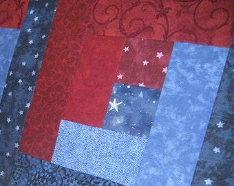 Navy Blue, Slate Blue and Brick Red half size Tablerunner