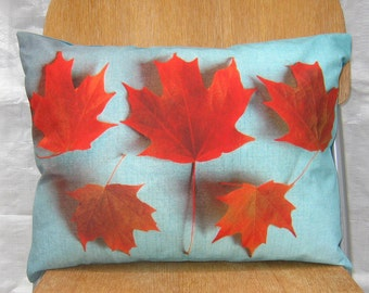 Red Maple Leaves 12 by 16 inch Pillow Cover series F