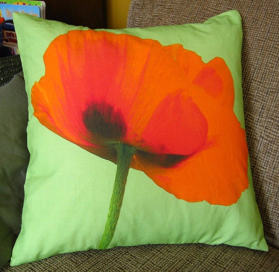 Poppy on Green Background 16 inch Pillow Cover