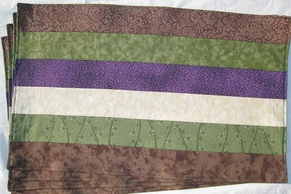 Earth Brown Olive Green Cream Plum Purple Set of 4 Placemats