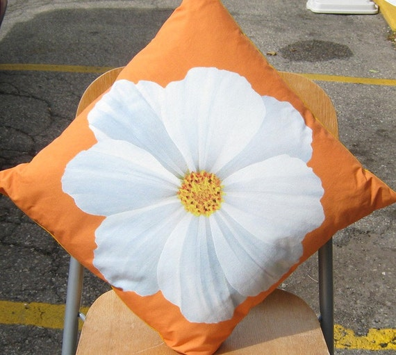 White Cosmos Flower on Orange 16 inch Pillow Cover Series F
