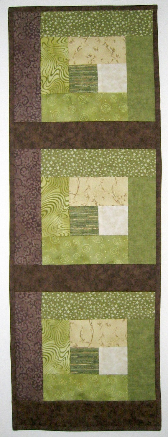 Earth Brown Beige and Green Wallhanging or Half size Tablerunner