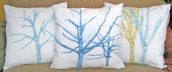 16 inch Decorative Throw Pillow Cover, Pose Blue Trees, Sham, Cushion Cover, Pillow Case series M