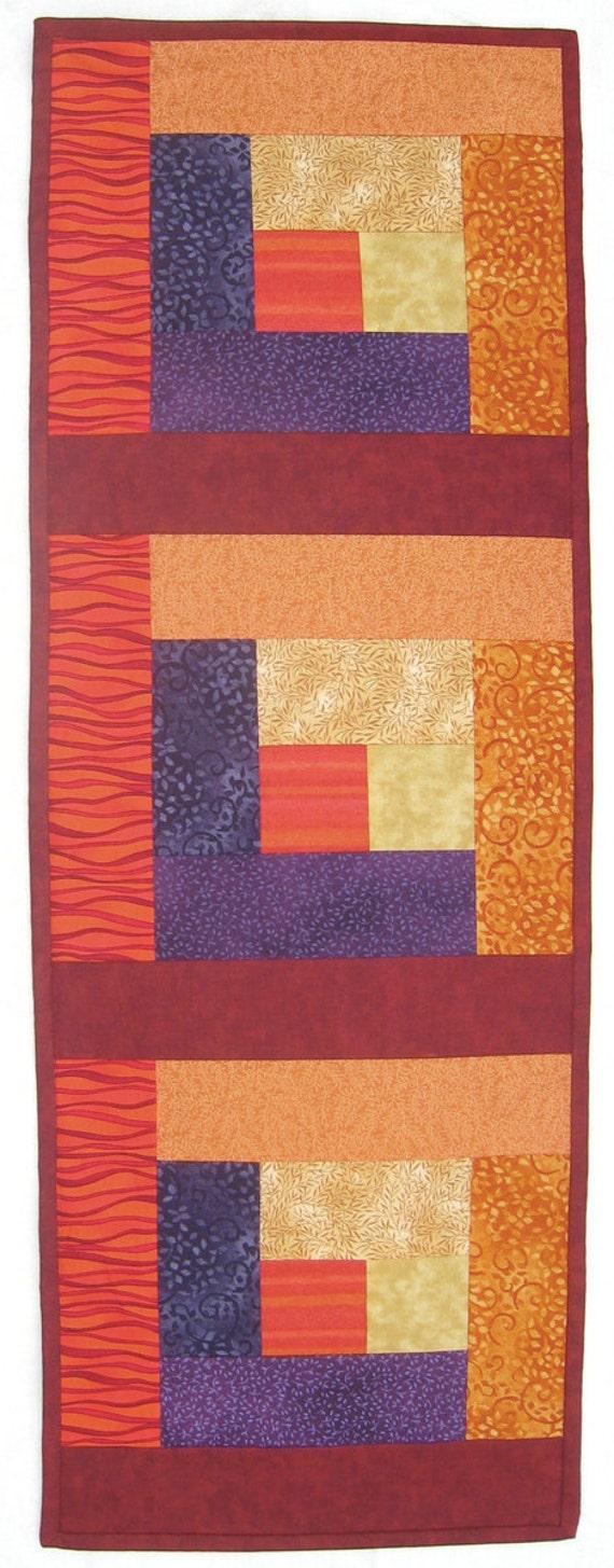 Autumn Leaves Maroon Red Orange Yellow Plum Purple Wallhanging or Half size Tablerunner