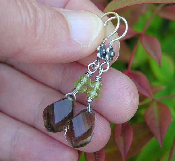 sterling silver, smoky quartz, and peridot gemstone dangle earrings.  woodland inspired earrings. OOAK.