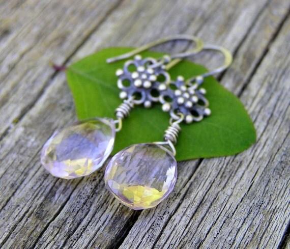 pink amethyst gemstone and sterling silver dangle earrings. february birthstone. OOAK.