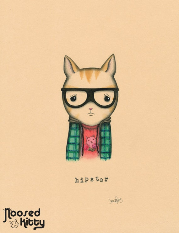 Hipster Cat Print