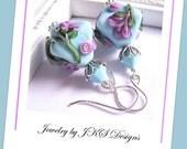 Turquoise Lampwork Earrings, Shabby Chic Blue Floral Earrings, Jewelry by JKS Designs