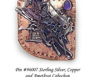 Amethyst Pin Brooch in Sterling Silver and Married Metals   by Cathleen McLain McLainJewelry 96007