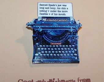 Favorite Quote OR First Line Literary Typewriter Pin