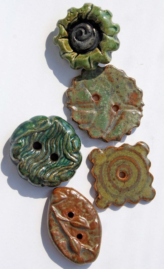 Handmade Ceramic Buttons SET OF 5 in Shades of Green