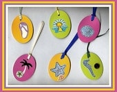 LET'S  go to the beach tags --  Set of 6