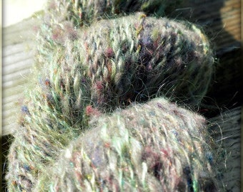 Enchanted Sea Foam - Handspun Yarn - Wool, Mohair, & Firestar - 201 yards