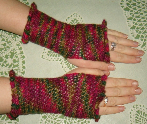 Summer Roses - Merino Wool Fingerless Mittens - Wrist Warmers