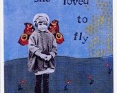 she loved to fly - blank note card