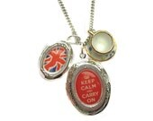 Keep Calm Carry On Locket Union Jack and Tea Cup Charm Necklace from Hoolala