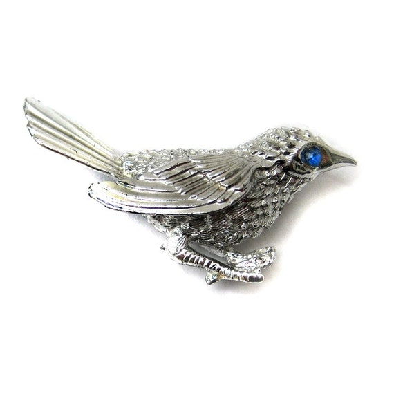 Vintage Silver Cheeky Magpie Brooch