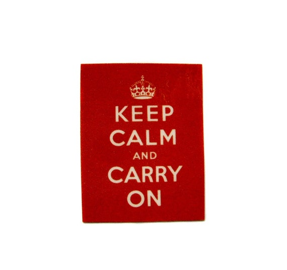 Dont Panic Keep Calm and Carry On Pin Brooch from Hoolala