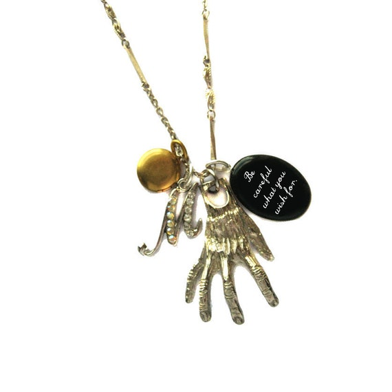 The Hand of the Mummy Hammer Horror Be Careful What You Wish For Vintage Charm Necklace from Hoolala Vintage