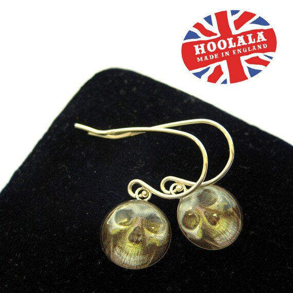 Sterling Silver 925 Victorian Memento Mori Skull Charm Earrings from Hoolala