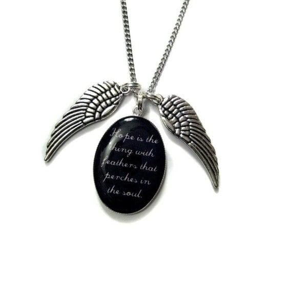 Emily Dickinson Hope Is The Thing With Feathers That Perches In The Soul Charm Necklace from Hoolala