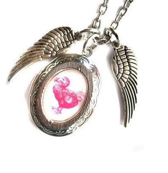 Winged Pink Dodo Locket As Featured in The Sunday Times Style Magazine The Rarest of Birds Handmade by Hoolala