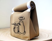 Espresso . Lunch Bag . Coffee Lover Original Drawing . Screenprinted by Hand . Brown Neoprene Velcro Lunchbag