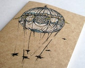 Bridges and Balloons Moleskine Cahier . Large . Plain Pages . Notebook Journal Sketchbook . Hot Air Balloon on Kraft Cover . Inventions