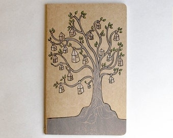 Neighborhood Moleskine Cahier Notebook Journal . Large . Plain Pages . Treehouses . Tree