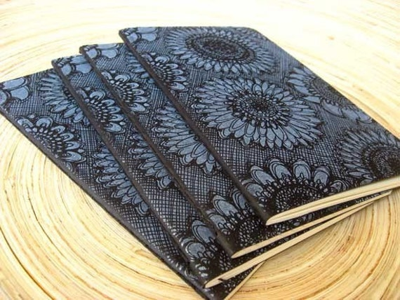 Sunflowers - Black Moleskine Cahier Journal Notebook - Gocco Printed - Lined