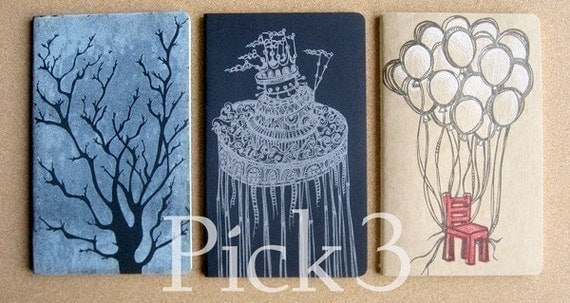 Pick 3 Hand Printed Moleskine Cahiers . Large Notebooks