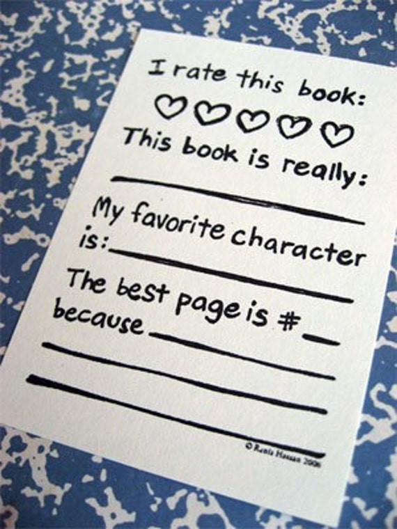 Bookplates - Rate Book Hearts - Gocco Printed