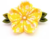 Citrus yellow and white cherry blossom barrette- tsumami kanzashi
