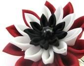 Red fox eye chrysanthemum snap clip- Tsumami Kanzashi