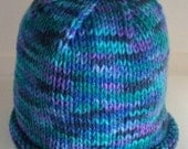 Hand Knit  ADULT Hat - Monet green blue purple FuN